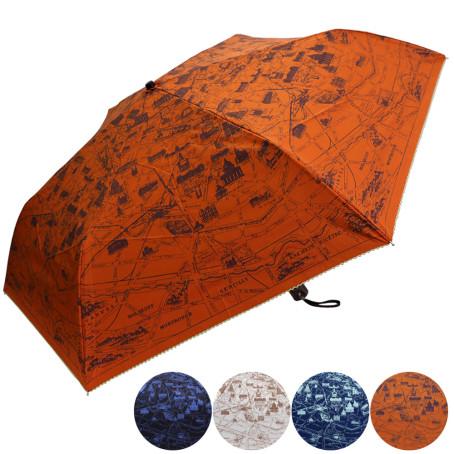 雨晴兼用マップ柄ミニ(折)傘