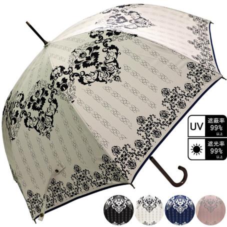 雨晴兼用 ダマスク柄ジャンプ傘