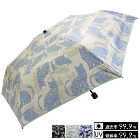 晴雨兼用 猫シルエット柄折畳み傘