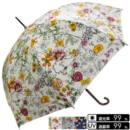 晴雨兼用 花&蝶柄ジャンプ傘
