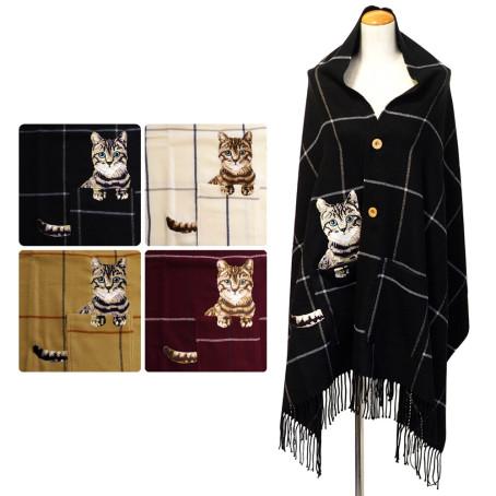 ボタン&ポケット付 猫刺繍 チェック柄 ポンチョストール