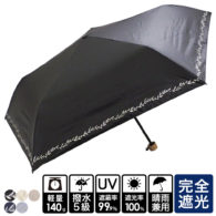 完全遮光 晴雨兼用 超撥水 ブラックコーティング ラメプリント 軽量コンパクトミニ折りたたみ傘 リーフ柄