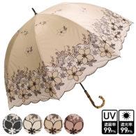 プリント&刺繍 竹製ハンドルショート傘/花レース柄